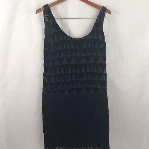Navy Blue Flapper Fringe Dress Triangles NYE